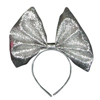 Gisela Graham Christmas Glitter Fabric Bow Hairband - Silver (32315)