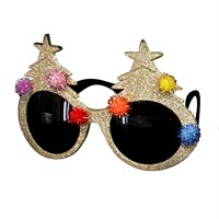 Gisela Graham Christmas Gold Acrylic Glitter Tree Sunglasses (39165)