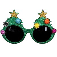 Gisela Graham Christmas Green Acrylic Glitter Tree Sunglasses (39165)
