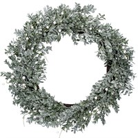 Gisela Graham Christmas Silver Glitter Leaf Wreath With Pearl Berries Decoration (40895)