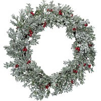 Gisela Graham Christmas Silver Glitter Leaf Wreath With Red Berries Decoration (40896)