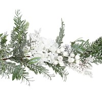 Gisela Graham Christmas Snowy Fir White Berry Hydrangea Garland Decoration (40806)