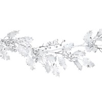 Gisela Graham Christmas White Glitter Acrylic Holly Garland Decoration (41009)