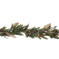 Gisela Graham Christmas Gold Dusted Fir Cone Feather Garland - 180Cm Garland (40654)