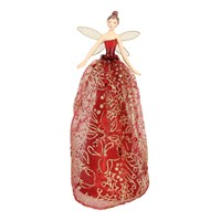 Gisela Graham Christmas Red & Gold Glittered Fabric & Resin Tree Top Fairy - Large Tree Topper (32988)