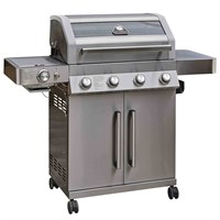 Grillstream 4 Burner Barbecue Hybrid Charcoal & Gas BBQ - Stainless Steel (GGH46SS)