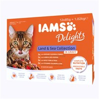 Iams Adult Delights Land & Sea Collection In Jelly Wet Cat Food Multi-Pack Pouches