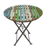 Kadai Metal Table With Recycled Top Dia - 76cm (Dm020-76)