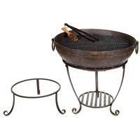 Kadai Recycled Firebowl Set With High & Low Stand- 60cm (XM062-60HL)