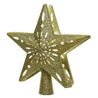 Kaemingk 25cm LED Light Up Star Christmas Tree Topper with Built In Snow Projector -Gold (498013)