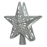Kaemingk 25cm LED Light Up Star Christmas Tree Topper with Built In Snow Projector -Silver (498013)