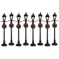 Lemax Christmas Village - Gas Lantern Street Lamp (Set of 8) - Battery-Operated 4.5v (64500)