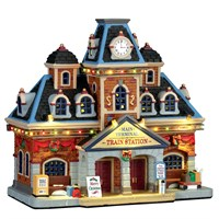 Lemax Christmas Village - Main Terminal Train Station Building with 4.5V Adapter (75194-UK)