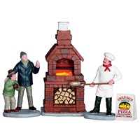 Lemax Christmas Village - Outdoor Pizza Oven - Set Of 4 Battery Operated Table Piece (64066)