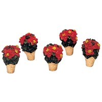 Lemax Christmas Village - Poinsettias Accessory - Set of 5 (34970)