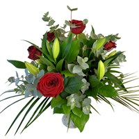 Lilies & Red Roses Hand Tied Valentine's Day Bouquet