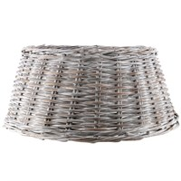 Longacres Woven Wicker Round Christmas Tree Skirt - White Wash
