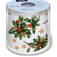 Loo Rolls - Holly All Over 3 Ply, 200 Sheet Christmas Roll (PD00199)