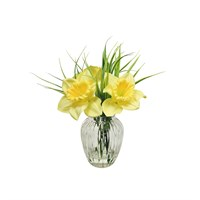 Lotus Artificial Flowers - Daffodil & Grass Vase Arrangement (505484)