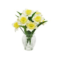 Lotus Artificial Flowers - Daffodil In Ribbed Vase Arrangement - Cream/Yellow (501477)
