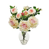 Lotus Artificial Flowers - Garden Rose In Urn Vase Arrangement - Pink/Cream (506473)
