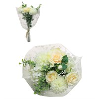 Lotus Artificial Flowers - Pom & Cream Rose Bouquet (301144)