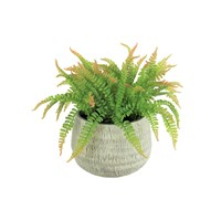 Lotus Artificial Plant - Large Fern Potted In Stone Pot (502456)