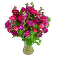 Mother's Day Caring Cerise Floral Hand Tied Bouquet