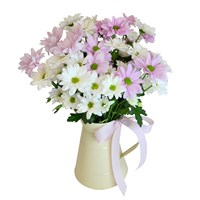 Mother's Day Doting Chrysanthemum Floral Hand Tied Bouquet Jug + FREE GIFT