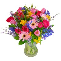 Mother's Day Nurturing Mixed Pink Floral Hand Tied Bouquet + FREE GIFT