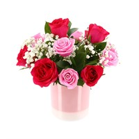 Mother's Day Roses & Gypsophila Flower Pink Ceramic Container Arrangement