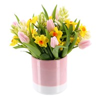 Mother's Day Spring Flowers Pink Ceramic Container Arrangement