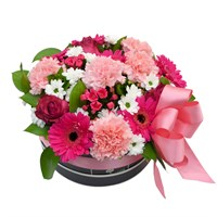 Cerise Pink Floral Arrangement Hat Box - Medium