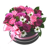 Cerise Pink Floral Arrangement Hat Box - Large