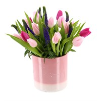 Mother's Day Tulips & Veronica Flower Ceramic Container Arrangement