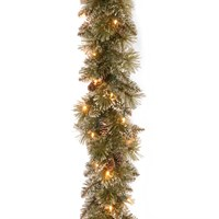 National Tree Glittery Bristle Pine 9ft Inch Artificial Christmas Garland Pre-Lit with LEDs  (GB3-300-9B-B)