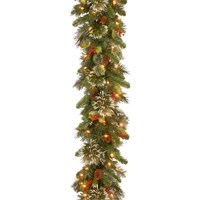 National Tree Wintry Pine 9ft Inch Artificial Christmas Garland Pre-Lit with LEDs (WP3-304-9B-B)