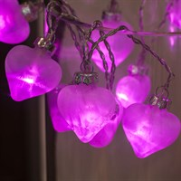 Noma 16 White LED Pink Glass Hearts Christmas Lights (2114156)