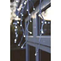 Noma 240 White LED Snowing Icicles Christmas Lights with White Cable (2515080WW)