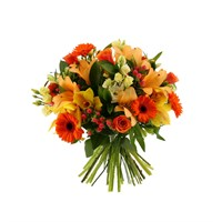 Orange Handtied Bouquet - Deluxe