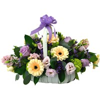Pastel Mother's Day Basket Flower Arrangement