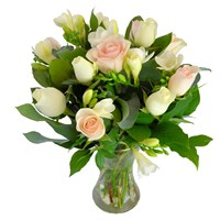 Pastel Roses & Freesia Hand Tied Valentine's Day Bouquet