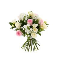 Pastel Roses & Freesia Cut Flower Handtied Bouquet