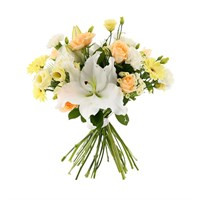 Peach & Cream Handtied Bouquet - Premium