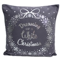 Peggy Wilkins White Christmas Grey & Silver Complete Cushion (5065/310/034)