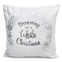 Peggy Wilkins White Christmas White & Silver Complete Cushion (5065/310/017)