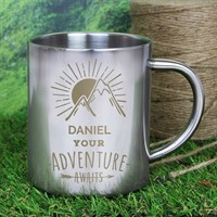 Personalised 'Adventure Awaits' Stainless Steel Mug (P0104J30) - Direct Dispatch