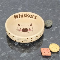 Personalised Cat Stitch Small Brown Cat Bowl (P0305F92) - Direct Dispatch