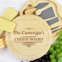 Personalised Decorative Swirl Large Cheese Board with Cheese Knives (P011435) - Direct Dispatch