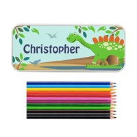 Personalised Dinosaur Pencil Tin with Pencil Crayons (P080478) - Direct Dispatch